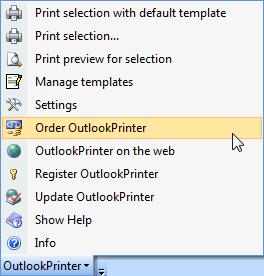 OutlookPrinter toolbar